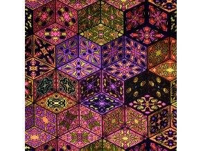 1363 Úplet Fialovo růžové ornamenty