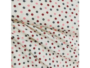Bavlněný úplet - Růžový puntík velký, šíře 2m
