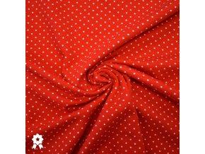 1478 Úplet Bílé puntíky 0,2cm na červené