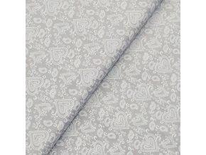 Plátno - Srdíčka na šedé