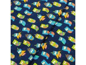 Zimní softshell - Sovičky na tmavě modré