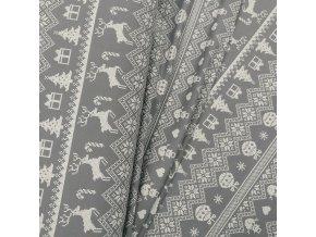 Teplákovina - Nordický vzor, šedá
