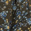 Fitness úplet - Květy, modro-zlatý metalický tisk