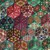 1362 Úplet Zeleno růžové ornamenty