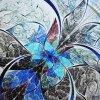 1420 Viskózový úplet, panel Květ 85x85cm