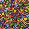 Zimní softshell - Barevné květy na tmavě modré