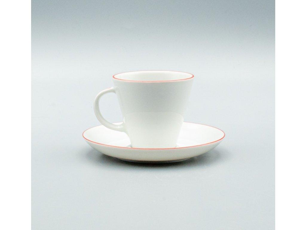 TOM červená linka, Šálek s podšálkem espresso 100 ml, Thun