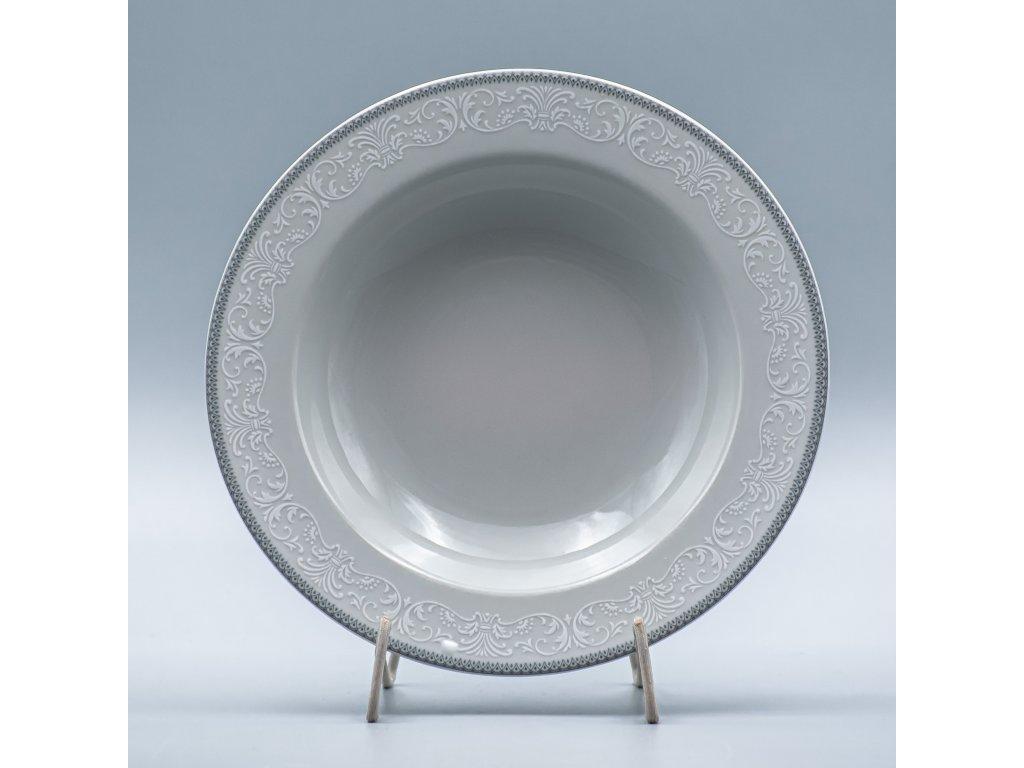 OPAL svatební šedá, Talíř hluboký NINA 22 cm, krajka, Thun