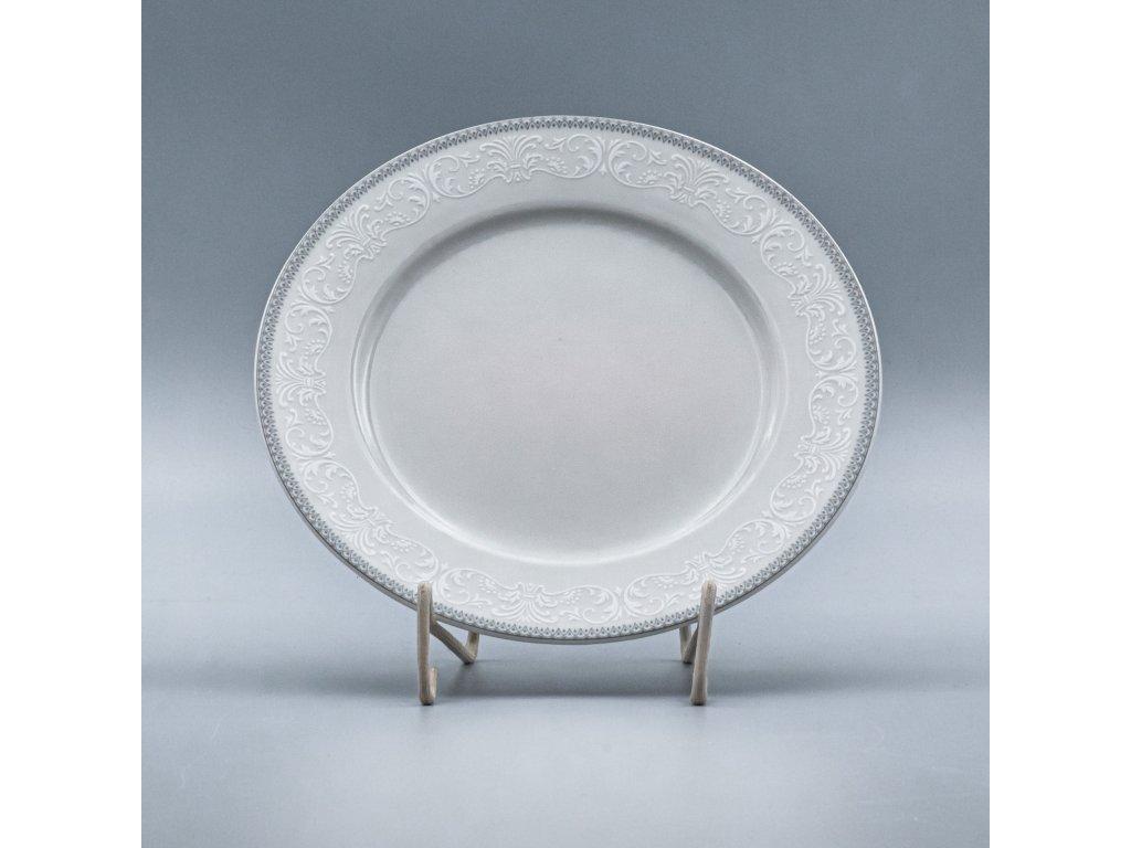 OPAL svatební šedá, Talíř mělký NINA 25 cm, krajka, Thun