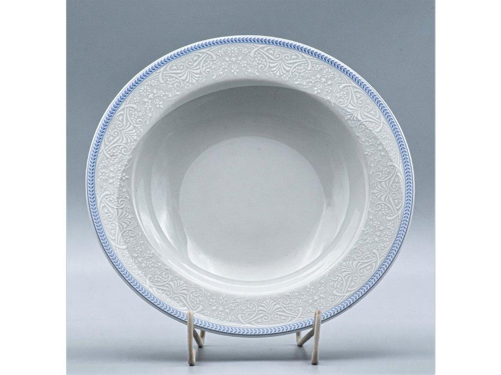OPAL svatební modrá, Talíř hluboký NINA 22 cm, krajka, Thun
