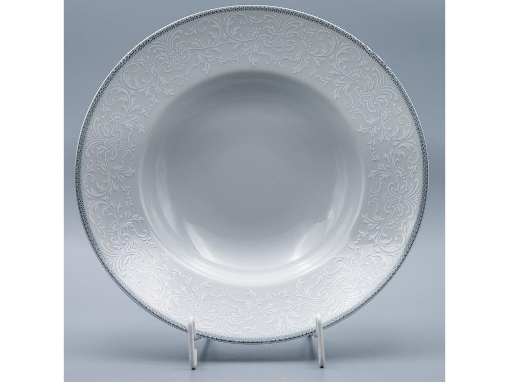 OPAL svatební šedá, Talíř hluboký PASTA 27 cm, krajka, Thun