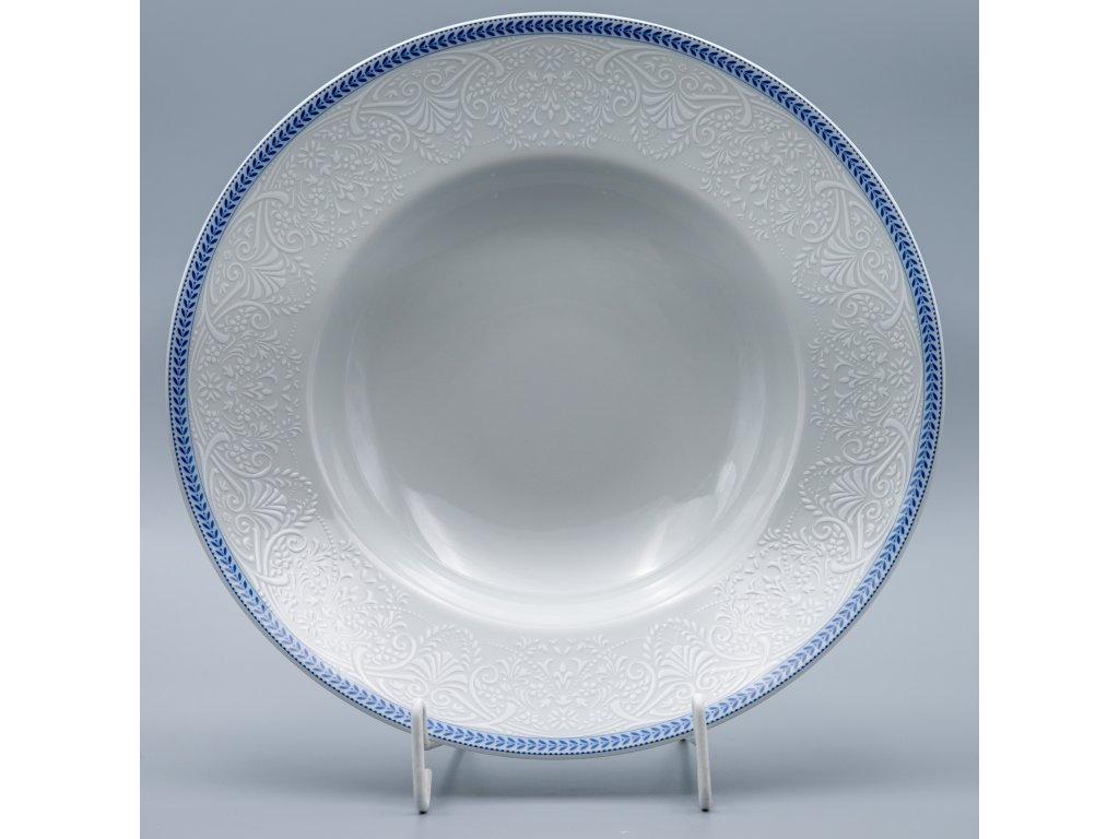 OPAL svatební modrá, Talíř hluboký PASTA 27 cm, krajka, Thun
