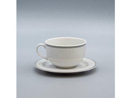 OPAL svatební šedá, Šálek s podšálkem čajový 280 ml, krajka, Thun