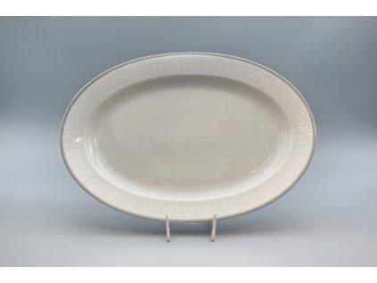 OPAL svatební šedá, Mísa oválná JANA 36 cm, krajka, Thun