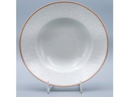 OPAL svatební hnědá, Talíř hluboký PASTA 27 cm, krajka, Thun