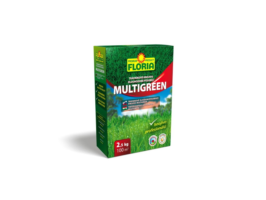 Dlouhodobě působící trávníkové hnojivo MULTIGREEN 2,5 kg  Trávníkové hnojivo dlouhodobě působící MULTIGREEN