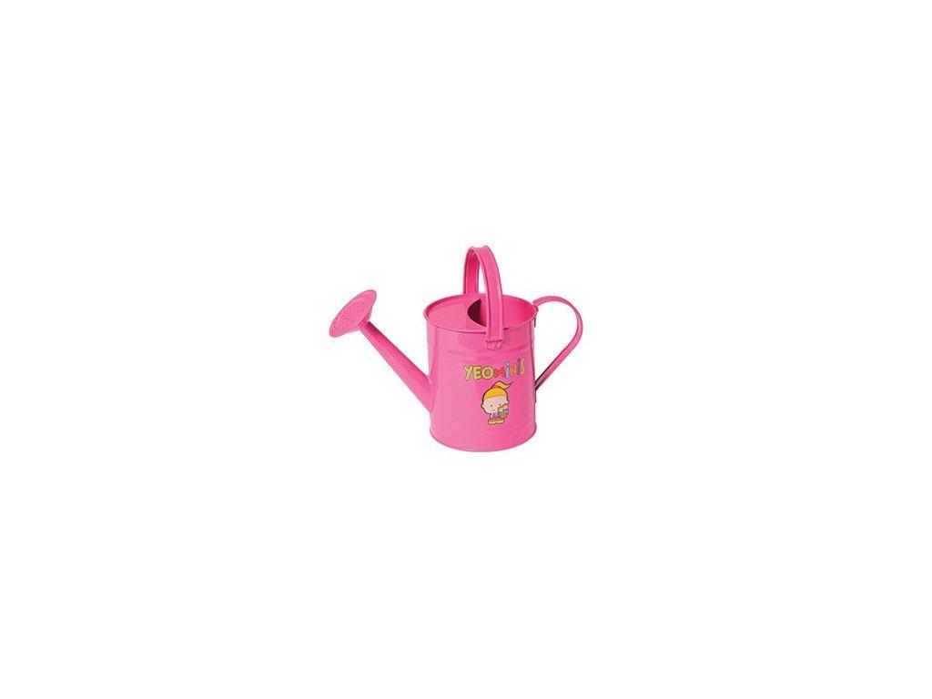 Dětská kovová konvička s motivem holčičky  Dětská zahradní konev s kropítkem