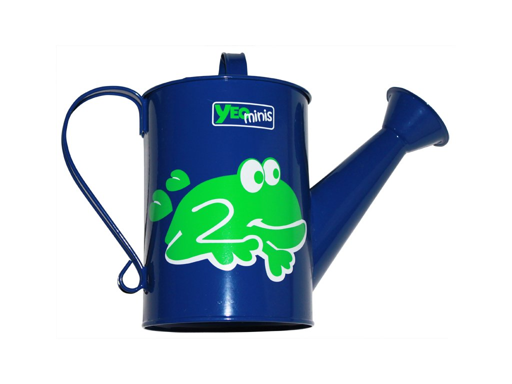 Dětská kovová konvička s motivem žáby  Dětská zahradní konvev s kropítkem