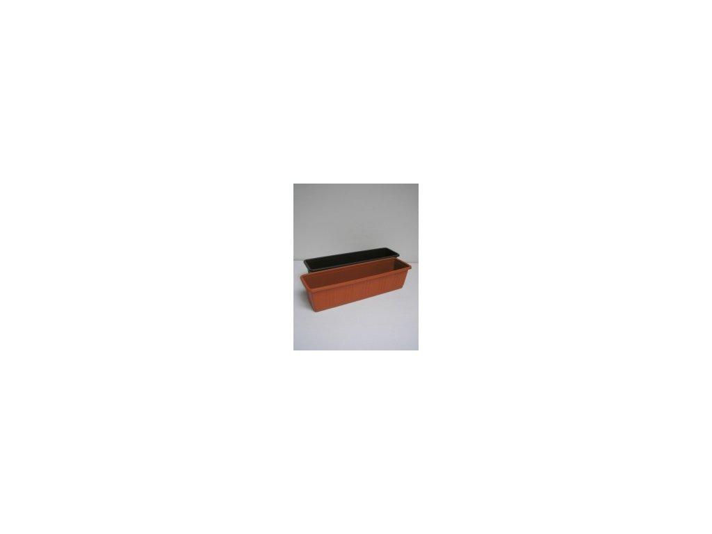 Truhlík s desénem (bílý, hnědý, terracota) 60 cm  Truhlík s desénem