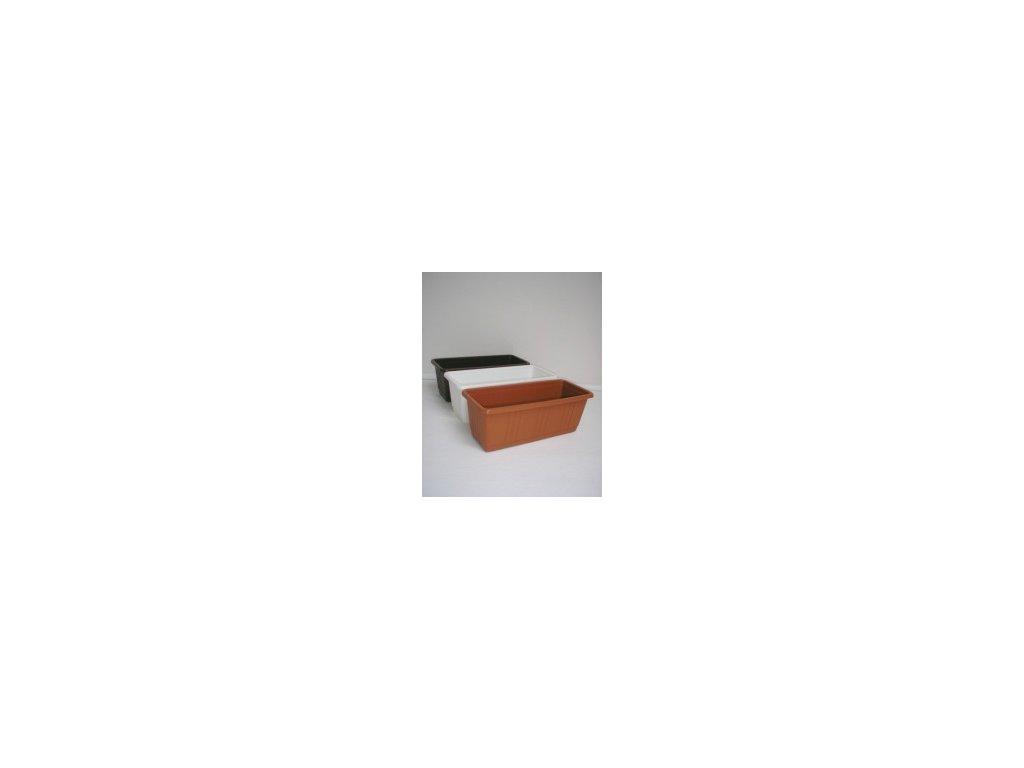 Truhlík s desénem (bílý, hnědý, terracota) 40 cm  Truhlík s desénem