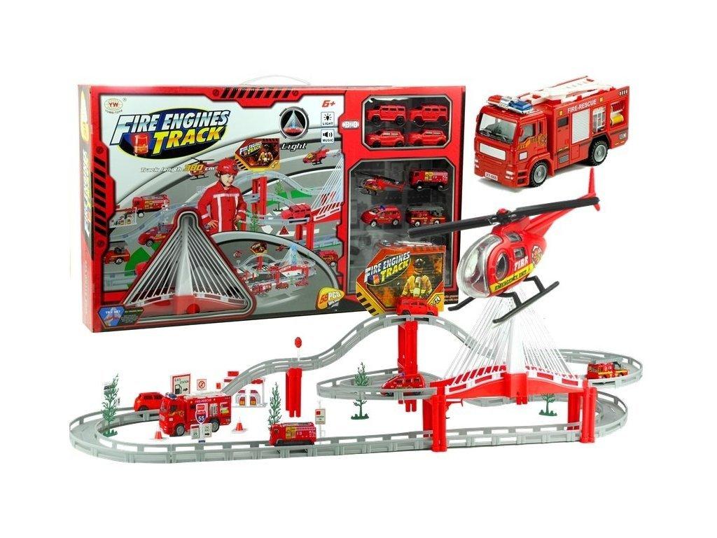 Požární centrum s dráhou, autíčky a helikoptérou