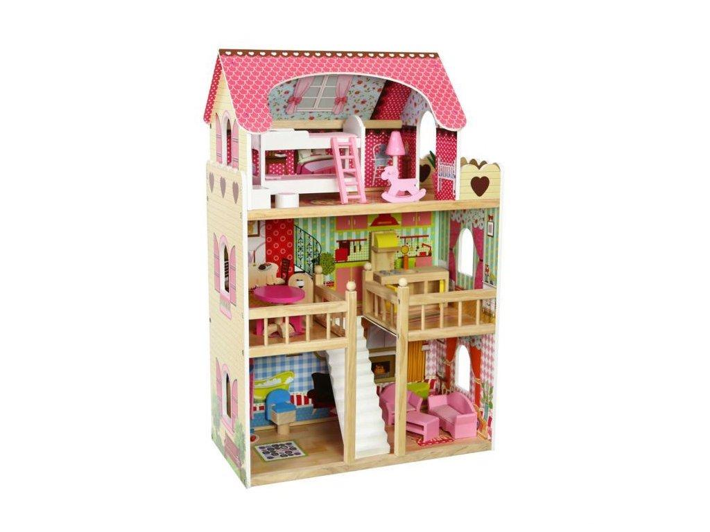 Ecotoys dřevěný dvoupatrový domeček pro panenky Malinová + 2 panenky