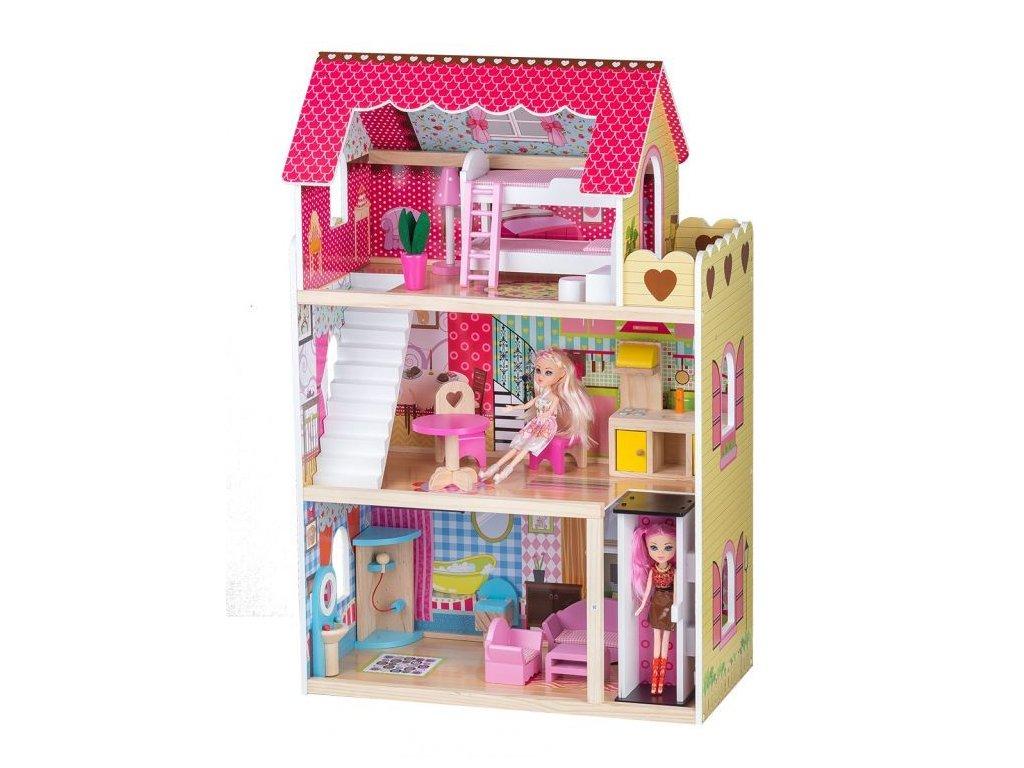 Ecotoys dřevěný domeček pro panenky Malinová s výtahem + 2 panenky