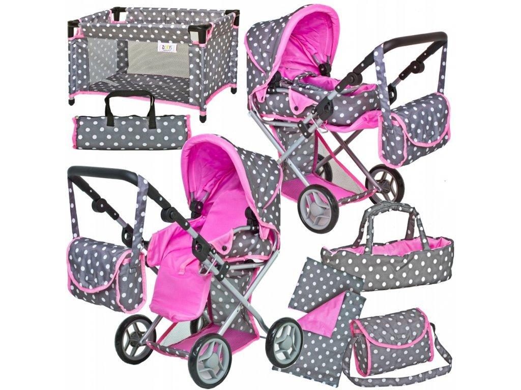 Doris kočárek pro panenky 5v1 šedý