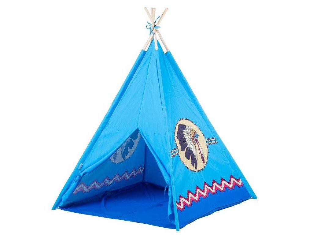 Ecotoys dětský indiánský stan modrý
