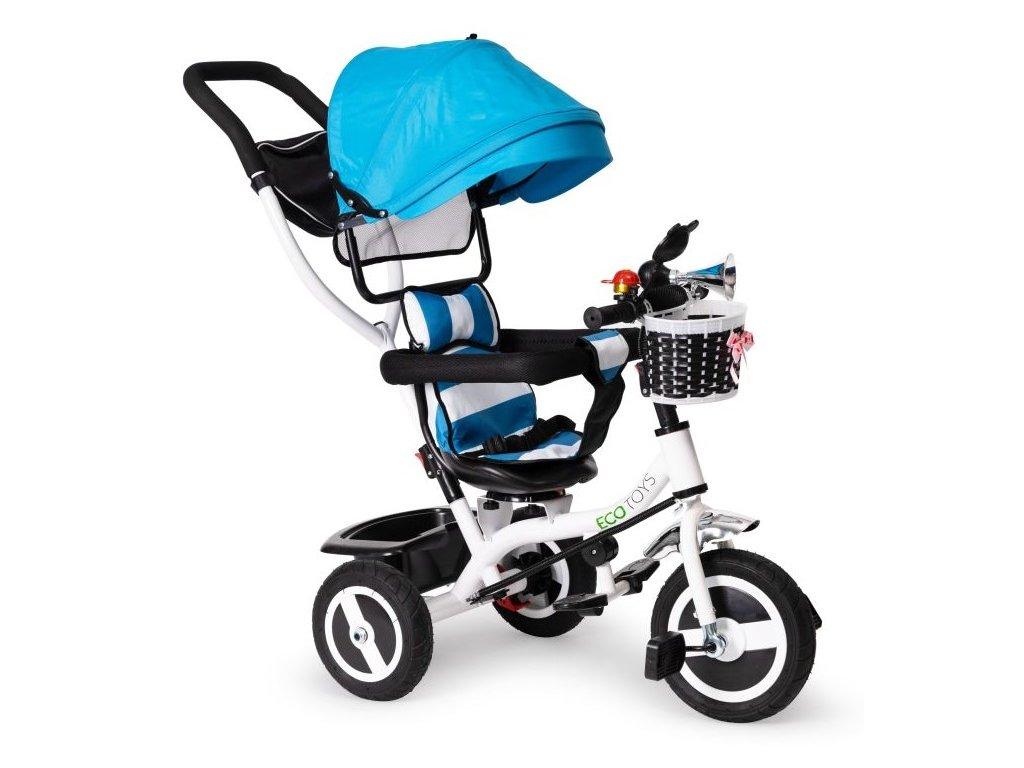 Ecotoys dětská tříkolka s otočným sedadlem modrá - nafukovací kola