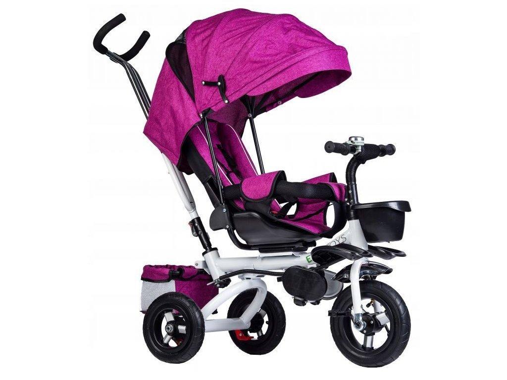 Ecotoys dětská tříkolka s otočným sedadlem Rotage růžová - nafukovací kola
