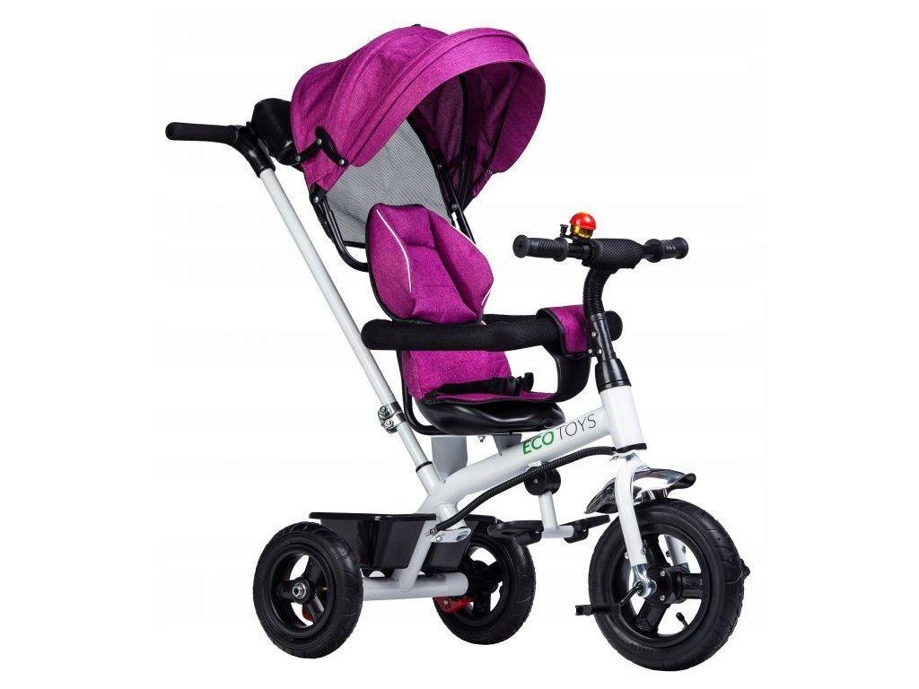 Ecotoys dětská tříkolka se stříškou růžová - nafukovací kola