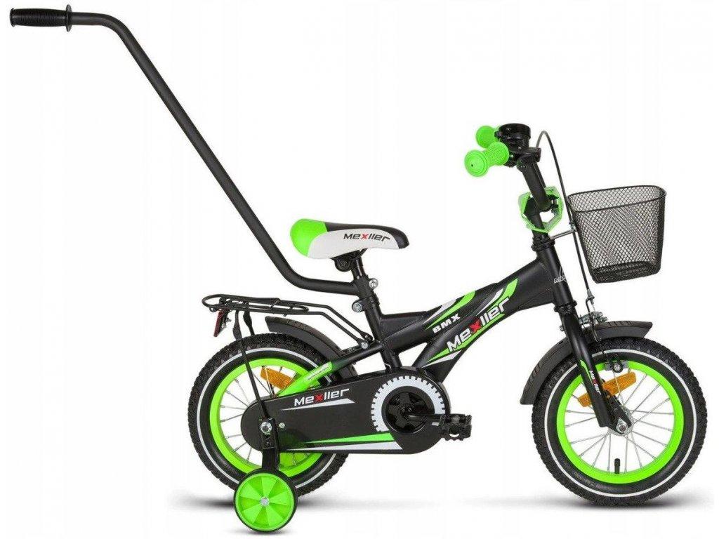 """Mexller dětské kolo BMX 12"""" s vodící tyčí černozelené"""