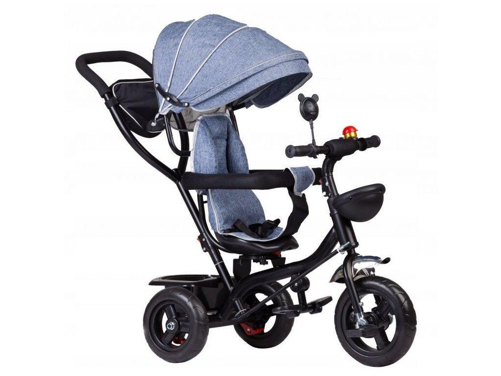 Ecotoys dětská tříkolka s otočným sedadlem 2v1 modrošedá