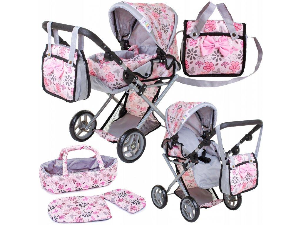 Doris kočárek pro panenky kombinovaný - 9346 světle růžový s kytičkami