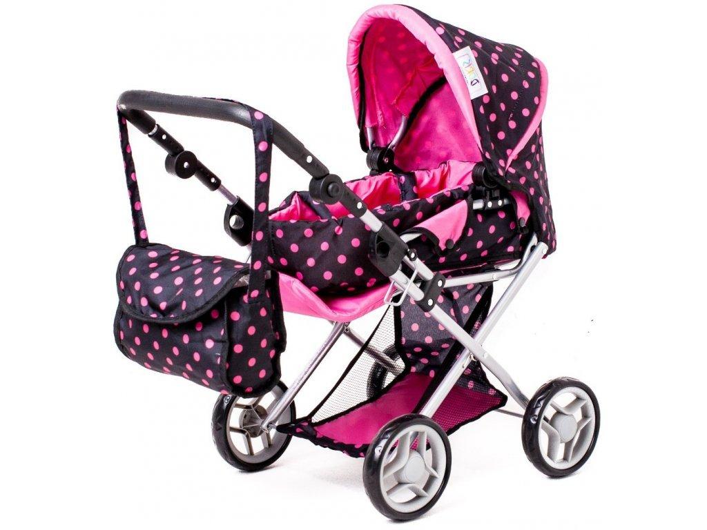 Doris kočárek pro panenky kombinovaný - 9346 černý s puntíkama