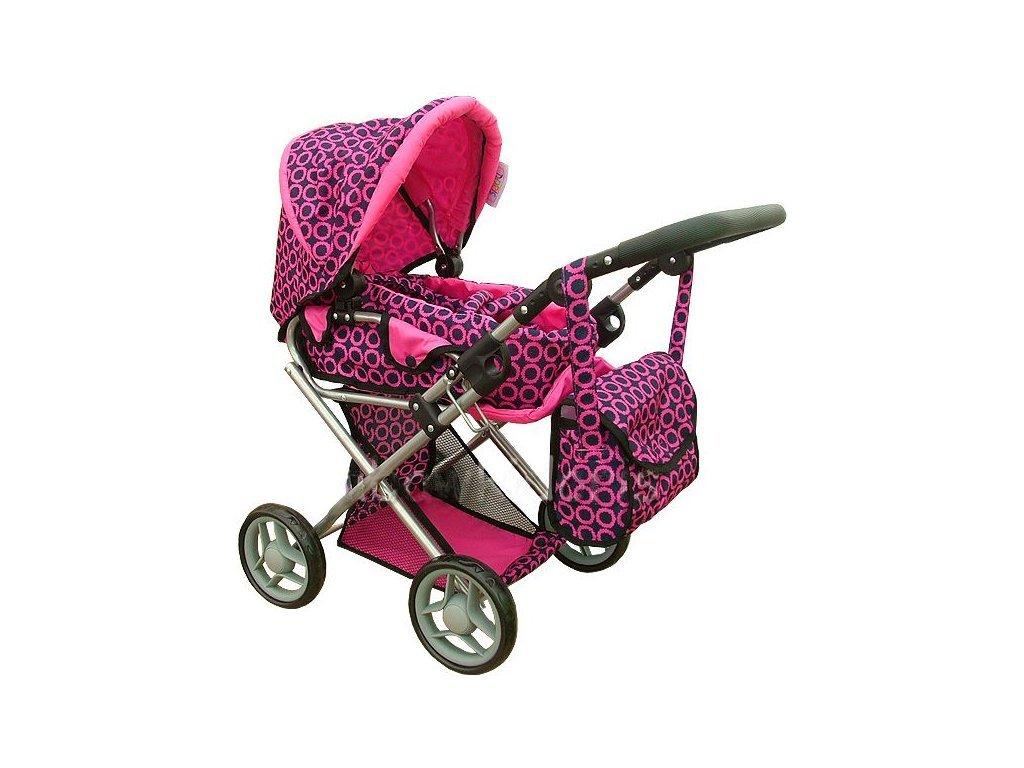 Doris kočárek pro panenky kombinovaný - 9346 růžovo-černý vzor