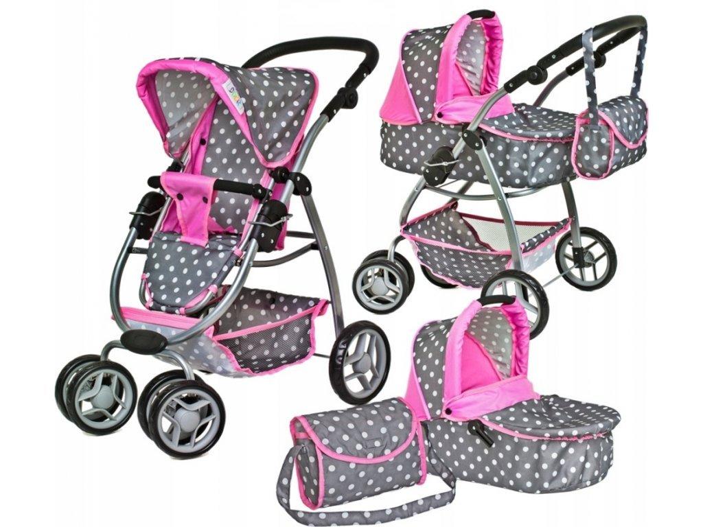 Doris velký sportovní kočárek pro panenky 3v1 - 9662 šedo-růžový