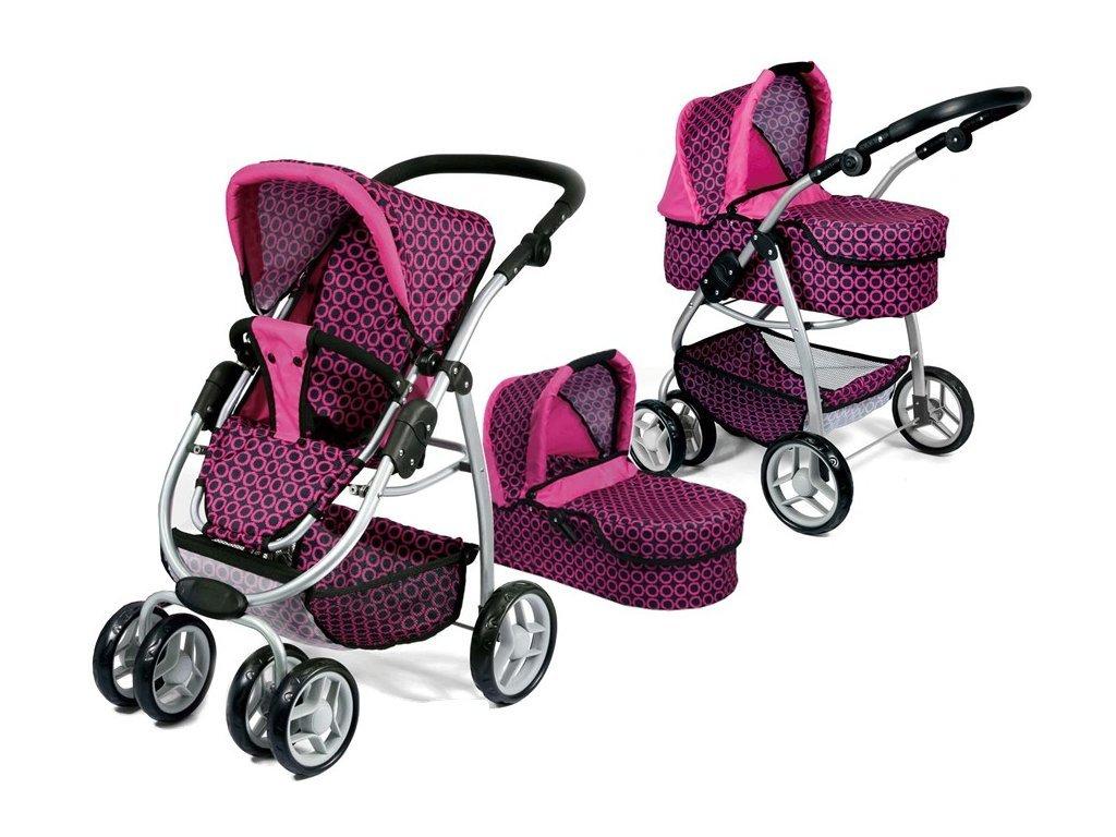 Doris velký sportovní kočárek pro panenky 3v1 - 9662 růžovo-černý vzor