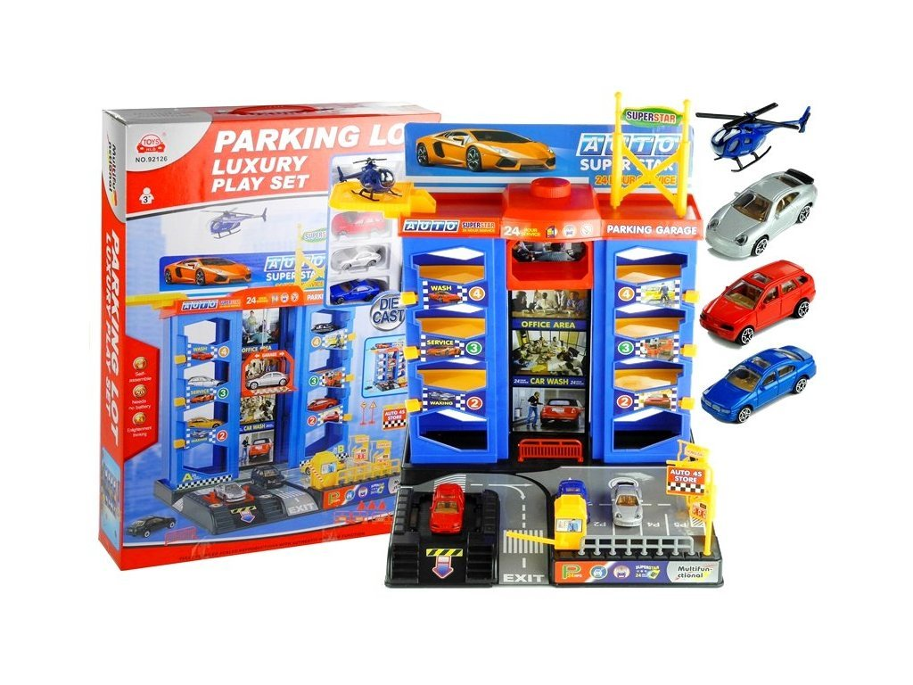 Majlo Toys parkovací garáž s výtahem a helikoptérou + 3 autíčka