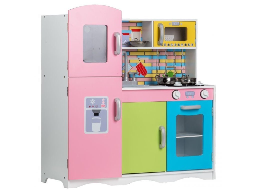 Ecotoys dětská dřevěná kuchyňka Pastelová