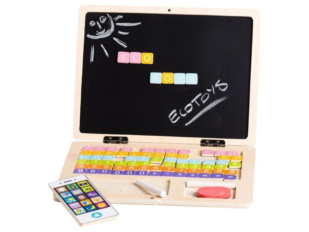 Ecotoys dřevěný notebook s magnetickým monitorem