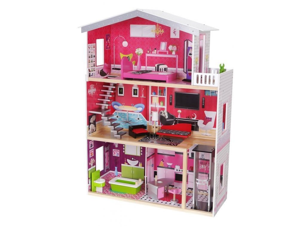 Ecotoys velký dřevěný domeček pro panenky Malibu s výtahem + panenka