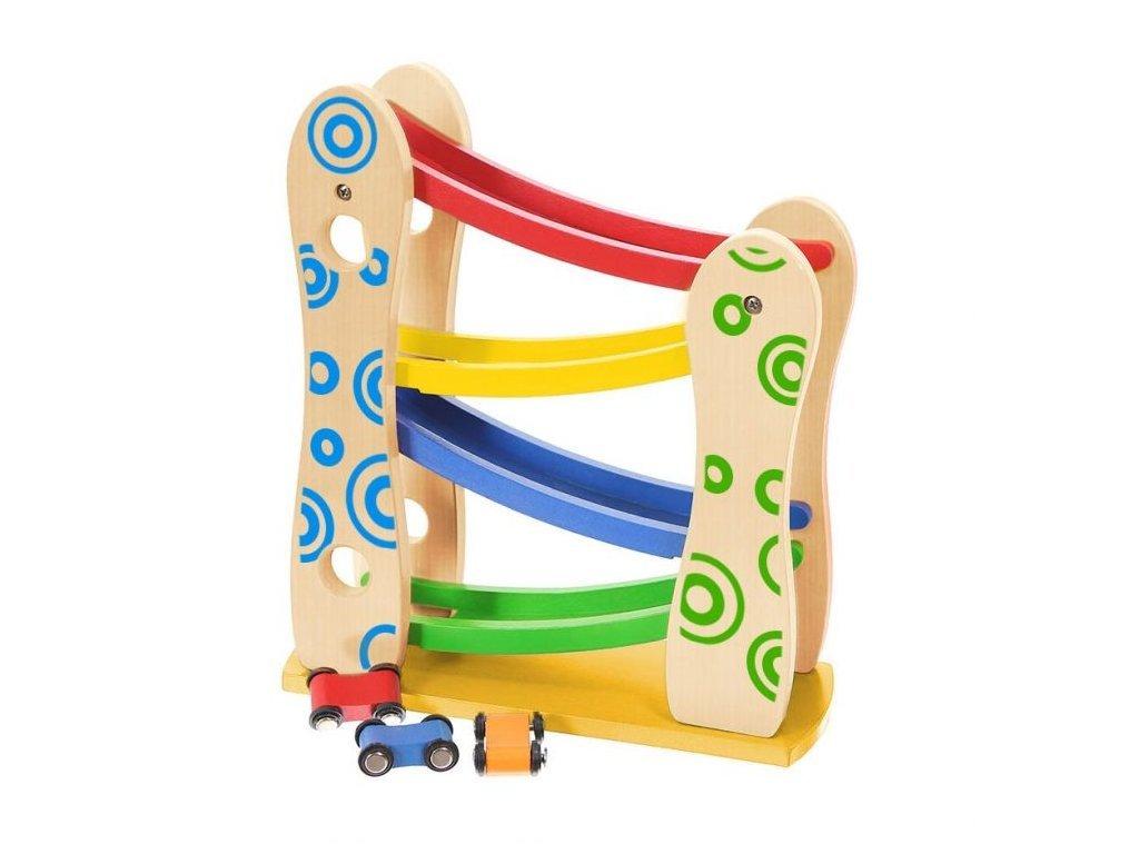 Ecotoys dřevěná skluzavka se 3 autíčky