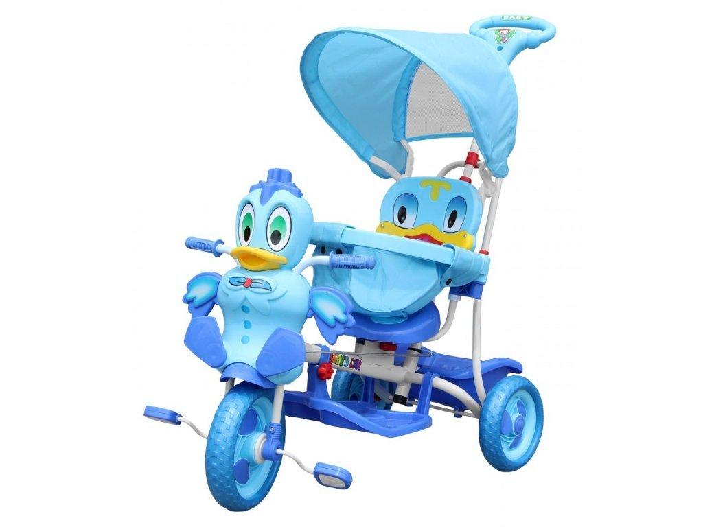 Dětská tříkolka s vodící tyčí Kačenka modrá