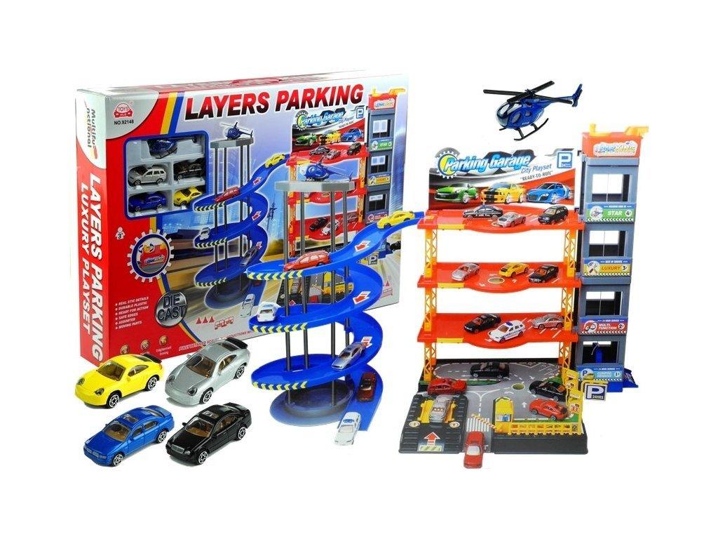 Majlo Toys parkovací garáž s výtahem a helikoptérou + 4 autíčka