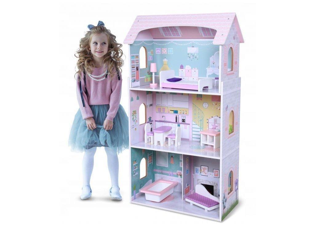 Ecotoys dřevěný třípatrový domeček pro panenky Jahodová