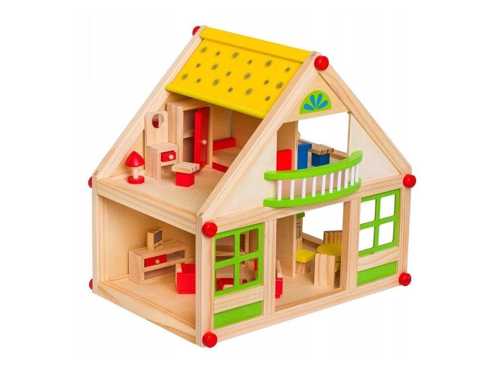 Doris dřevěný domeček pro panenky s balkónem