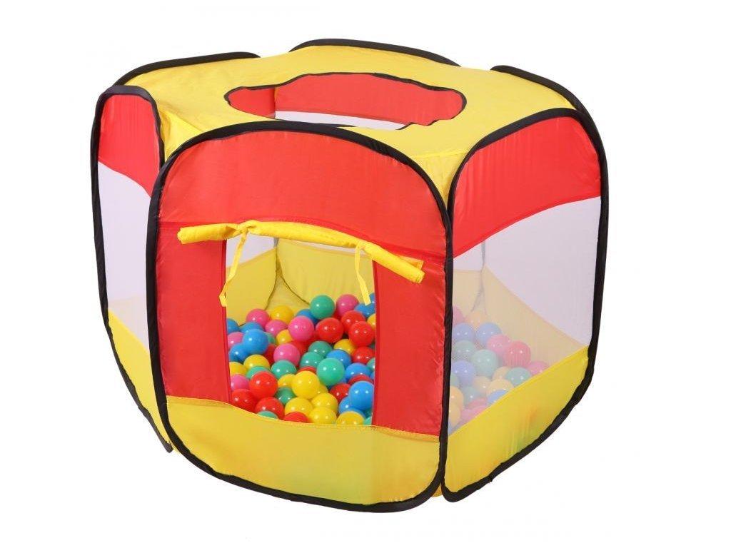 Ecotoys dětský stan + 100 barevných míčků