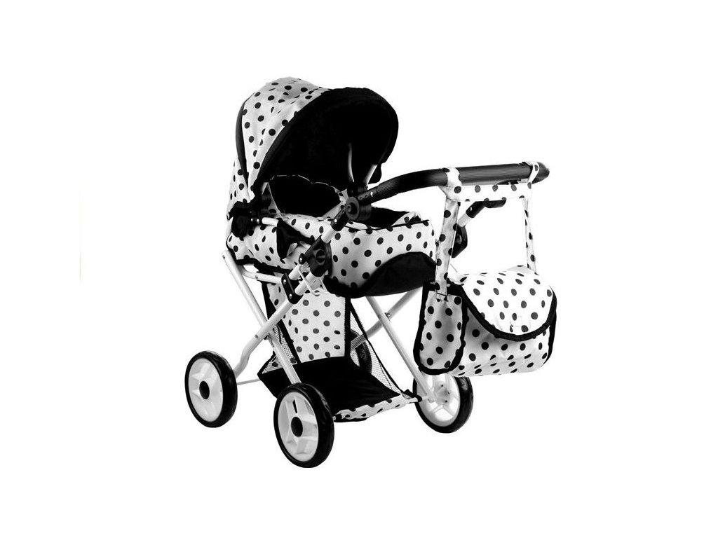 Alice kočárek pro panenky 9346 kombinovaný černo-bílý